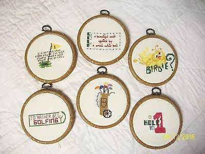 Vintage Lot of 6 Needlepoint Golf Golfing Plaques Wall Hangings Round Coasters