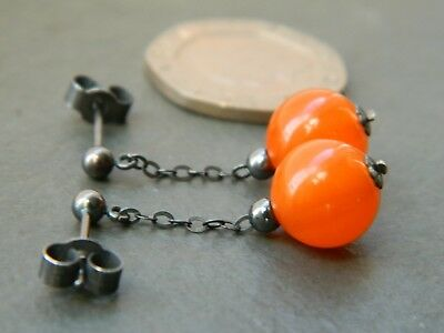 Art Deco Orange Amber BAKELITE tested beads & Oxidised 925 Silver Stud Earrings