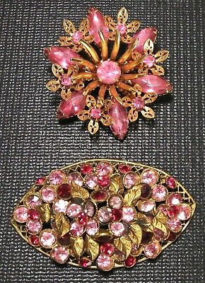 2 Vintage Pink Rhinestone Flower Pins Brooches 1 Clasp Marked 759 754~1 w Rivets