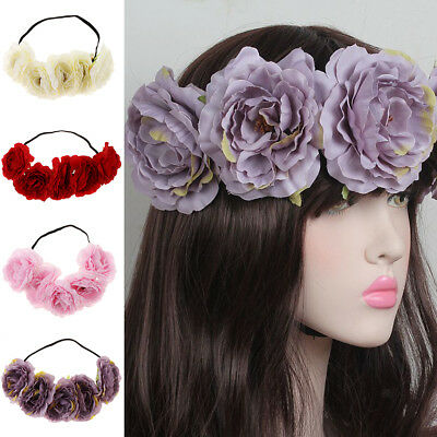 Women Wedding Headband Boho Large Flower Hair Garland Crown Wreath Headpiece
