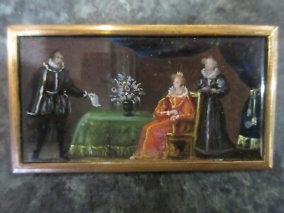 Miniature Painting of Dramatic Historical Scene - Mary, Queen of Scots. Framed.
