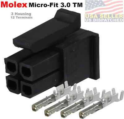 Molex ( 3-Set ) 4-Pin Female Receptacle w/Terminals Socket , Micro-Fit 3.0 ™