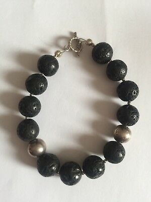 Hallmarked 925 Solid Sterling Silver Clasp With Black Beads Bracelet 27g