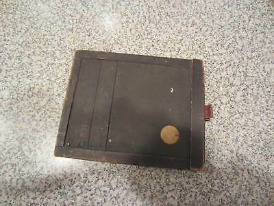 "Antique Late 1800s  Wood 4 "" x 5"" Image Cut Sheet Film Lock Plate Holder Photo"