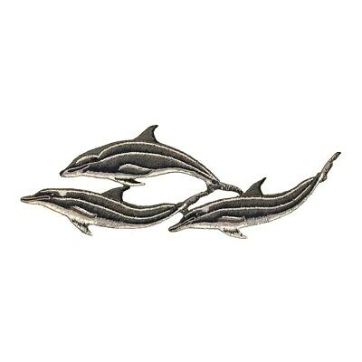 ID 0290 Pod of Dolphin Patch Porpoise Ocean Mammal Embroidered Iron On Applique