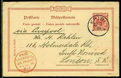 Kamerun VP-Karte  Kribi   Liverpool   London  1894