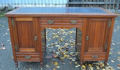 Antique Mahogany Kneehole Writing Desk Twin Pedestal Lether Top Fitted Drawers