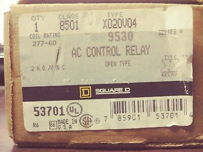 Square D 8501 X020V04 Ac Control Relay Type X Series A New In Box