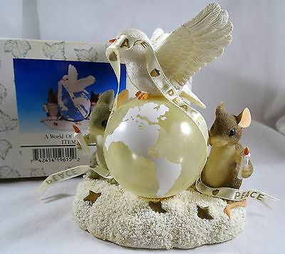Charming Tails Figurine  A World of Good Wishes SIGNED  Dove Peace Globe