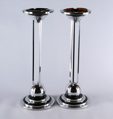1930s Antique Pair Of Art Deco Machine Age Chrome & Black Enamel Ashtray Stands