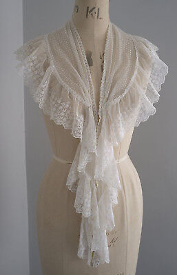 Antique dotted tulle and lace flounced fichu