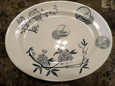 Rare Aesthetic Movement Transferware  Oval Platter Unmarked