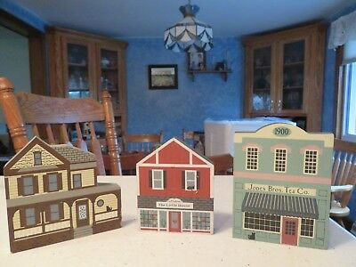 Vintage 1986 Cat's Meow The Little House & Jones Bros Tea Co.+1 Other Wood House