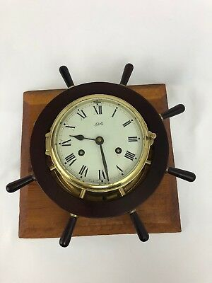 Vtg Schatz Ship's Wheel Clock Brass & Wood Nautical Captains Maritime For Repair