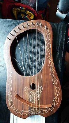 Brand New 10-Strings Lyre Harp Made of Quality Wood ,Two Broken Strings with Bag