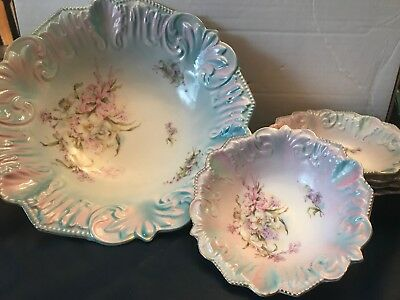 ANTIQUE UNMARKED PRUSSIA?  6 pc. BOWL LOT, GORGEOUS SET