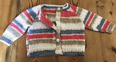 Vintage Baby Cardigan Hand Knitted 0- 6 Six Months Pink Cream Beige Button