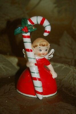 Vintage Merry Christmas Candy Cane Girl Angel Figurine Bell Napco Japan 1956
