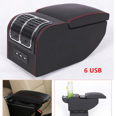 6 USB Rechargeable Car Charger Central Container Armrest Box Storage Case Handy