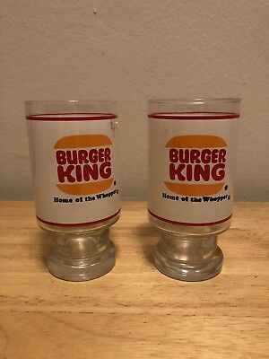 Burger King Lot Of 2 Large Footed Vintage Drinking Glass