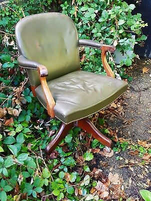Antique Vintage Mahogany and Green Leather Studded Swivel Office Desk Chair