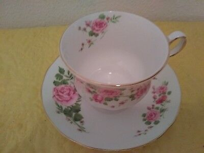 Avon Pink Roses Bone China 1974 Cup and Saucer set So Pretty