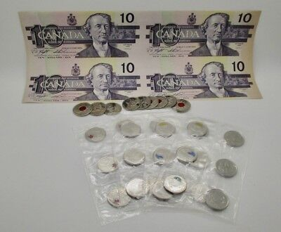 Canada MEGA Coin Lot $10 Dollar Uncut Colorized Quarters Orca Poppy Silver