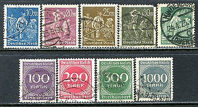 Germany Postage Stamps Scott 222-234, 9-Stamp Used Partial Set!! G1515a