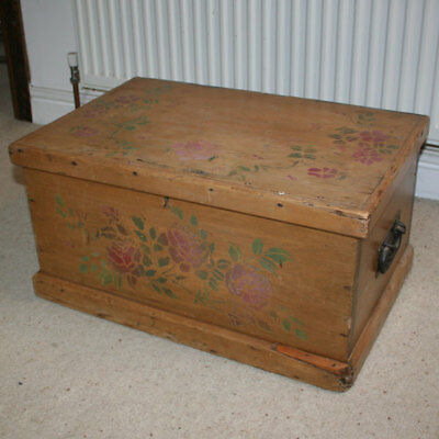 RUSTIC SMALL AGED PINE TRUNK / CHEST with STENCIL FLOWER DESIGN & IRON HANDLES