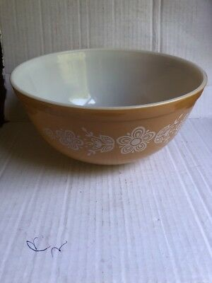 Vintage Pyrex USA 403 Gold Butterfly Mixing Serving Bowl 21/2 Qt Nesting