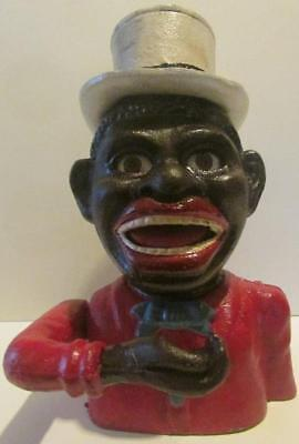 "Cast Iron Black Americana ""Jolly N"" Still Coin Bank With Hat"