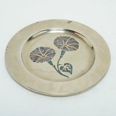 """Vintage Taxco Mexico Silver Plate & Shell/stone Display Dish/tray 7"""""""