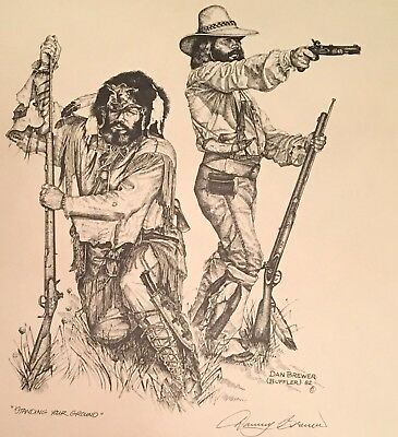 Dan Brewer Western Mountain Man signed Print Standing your Ground