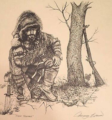 Dan Brewer Western Mountain Man signed Print Free Trapper