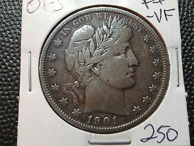 1901-S F+VF  Barber Half Dollar  LIBTY and part of E,R    Key Date