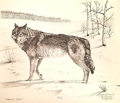 Dan Brewer Wildlife Wolf print signed numbered Timberline Tracks
