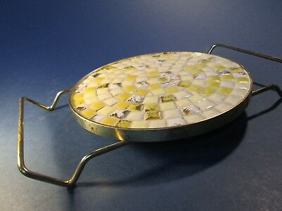 Mid Century Trivet Hot Casserole Pad Mosaic Yellow White Brass Handles Vintage