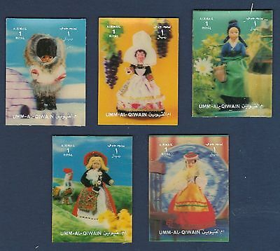UAE United Arab Emirates UMM ALL QIWAIN 3D Stamps Set DOLLS in NATIONAL COSTUMES