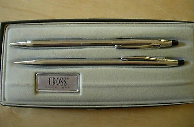 Vintage Cross Chrome 3701 Pen and Pencil Set with Box