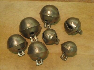 Lot of 7 Antique Brass Horse Sleigh Bells Sizes 3 thru 6 ~For Crafts / Ornaments