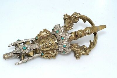 Antique Tibetan Buddhist Handle for Ritual Silver Brass Turquoise Inlay Figural