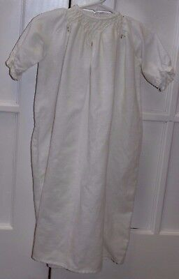 Vintage Baby Girl Nightgown hand made ribbon ties smocked white drama plays