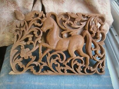 Old Vintage Indian Carved Wooden Horse Pierced Panel Moghul India Fine Detail
