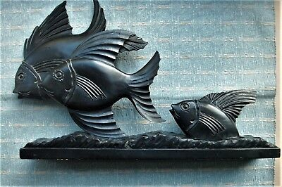 Old Antique French Art Deco Carved Wooden Fish Sculpture c.1930s Modernist Wood