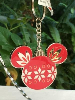Disney Parks Christmas Holiday Mickey Mouse Ears Icon Keychain / Charm NWT