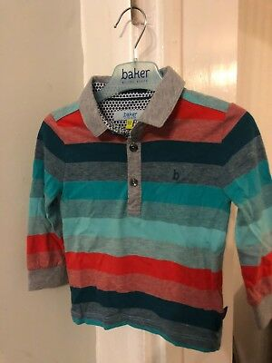 Boys Ted Baker Long Sleeved Striped Polo Shirt Size 18/24 Months