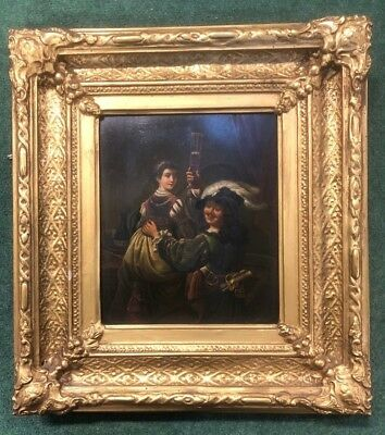 A 19th Century Oil Painting On Metal Tavern Scene With Cavalier Type Figure