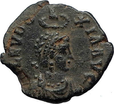 EUDOXIA Arcadius Wife 401AD Authentic Ancient Roman Coin VICTORY CHI-RHO i69266