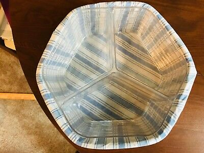 Longaberger Baskets Hexagon six sided Blue and White 2 inserts and liner 9 inch