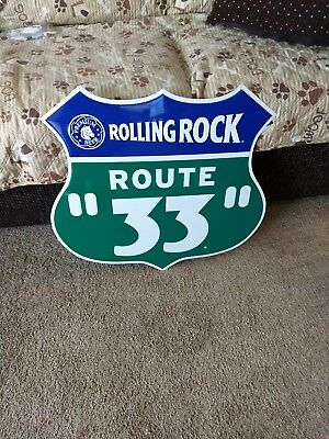 Rolling Rock Beer Tin Sign Route 33 Rare Man Cave Bar Pub Latrobe